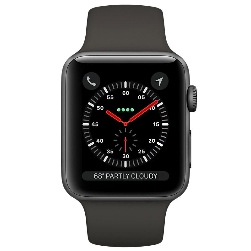 Apple Watch Series 3 GPS Space Gray Aluminum Case with Gray Sport Band 38mm