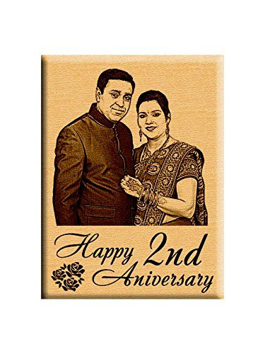 Incredible Gifts India First Or 2Nd Marriage Anniversary Gift - Personalized Photo Plaque (5X4 Inches) Steam Beech