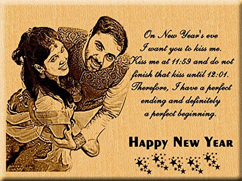 Incredible Gifts New Year Gift Ideas - Engraved photo Plaque for Wife and Husband (7x5 inches) Steam Beech