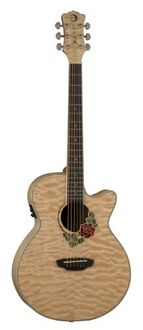Luna Flora Series Rose Quilted Maple Cutaway Acoustic-Electric Guitar