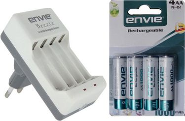 Envie ECR-20 Beetle Charger (With AA 1000 4PL Ni-CD Rechargeable Batteries)