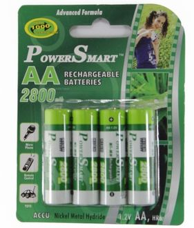 Power Smart Aa Ni-Mh 2800 mAh Capacity (Pack of 4) Rechargeable Batteries