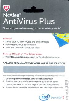 McAfee Antivirus Plus 2014 1 PC 1 Year (Activation Card)