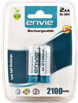 Envie 2x AA 2100mAh Ni-MH Rechargeable Batteries