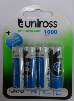 Uniross 1.2V 1000 mAh NI-MH Rechargeable Batteries (Pack Of 4)