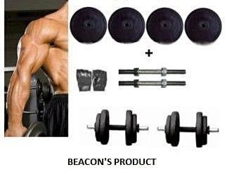 Beacon International Rubber Dumbbell Set 18 Kg (Rubber Weight Plates, Dumbbell Rods, Gym Gloves)