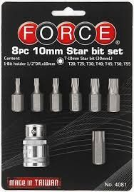 Force 4081 Square Drive Star Torx BIT Set (8 Pc)