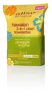 Alba Botanica Natural Hawaiian 3-In-1 Clean Towellettes 30 Count (Pine Apple Enzyme)