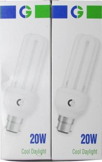 Crompton Greaves 20 Watt 3U CFL Bulb (Cool Day Light,Pack of 2)