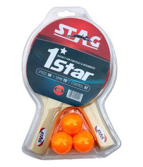 Stag 1 Star Table Tennis Set (2 TT Bats, 3 TT Balls)