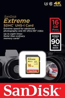Sandisk Extreme 16GB SDHC U3 (90mb/s) Class 10  Memory Card