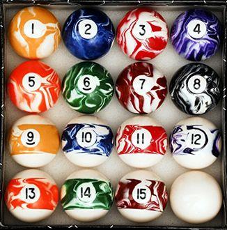 Iszy Billiards Marble/Swirl Style Billiard Ball Set