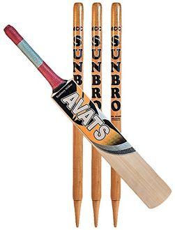 AVATS English Willow Cricket Bat & Stumps Combo Set