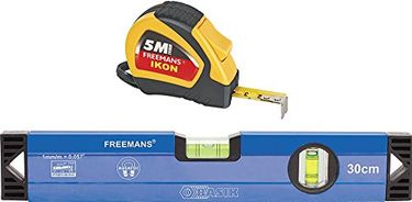 freemans Ikon Measuring Tape and Aluminium Spirit Level (5Mtrs & 30Cms)