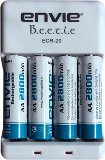 Envie Beetle ECR-20 Battery Charger (With AA 2800 Ni-Mh Rechargeable Batteries)