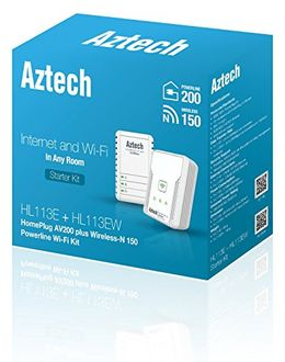 Aztech HomePlug (HL113E/HL113EW) AV Powerline Wireless-N 150 Mbps Extender Kit