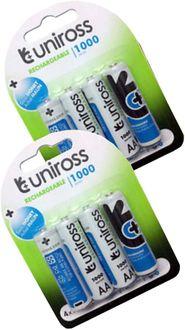 Uniross 1000 Series AA 1000mAh Ni-Mh Rechargeable Batteries (8 Pcs)