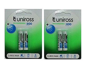 Uniross 800 Series 2*R03/AAA Rechargeable Batteries (4 Pcs)