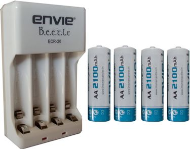 Envie AA 2100mAh Ni-mh Rechargeable Batteries (4 Pcs.) With ERC20 Charger
