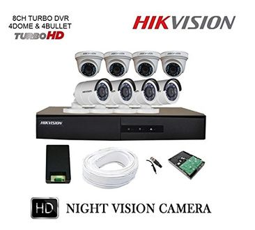 Hikvision DS-7208HGHI-F1 8CH Turbo DVR, 4(DS-2CE1AC0T-IRPF) Bullet, 4(DS-2CE5AC0T-IRPF) Dome Cameras (With 1TB HDD,Accessories)